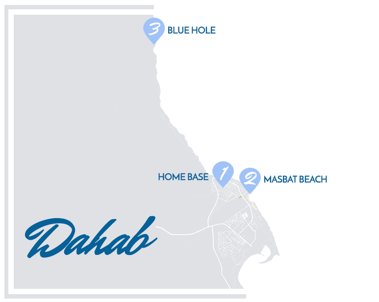 Dahab Map with Blue Ocean Freediving Bases