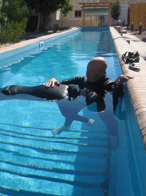 Brian teaching at Blue Ocean Freedivers Home Base Dahab