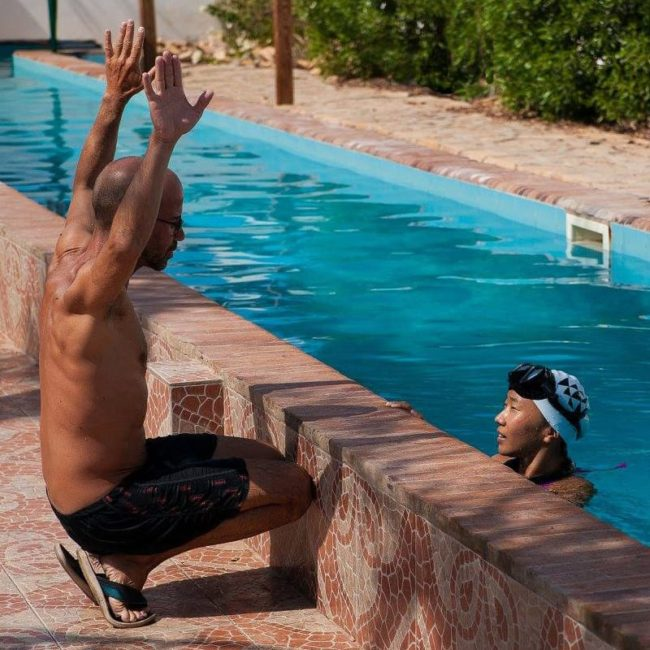 Teaching Freediving by the pool