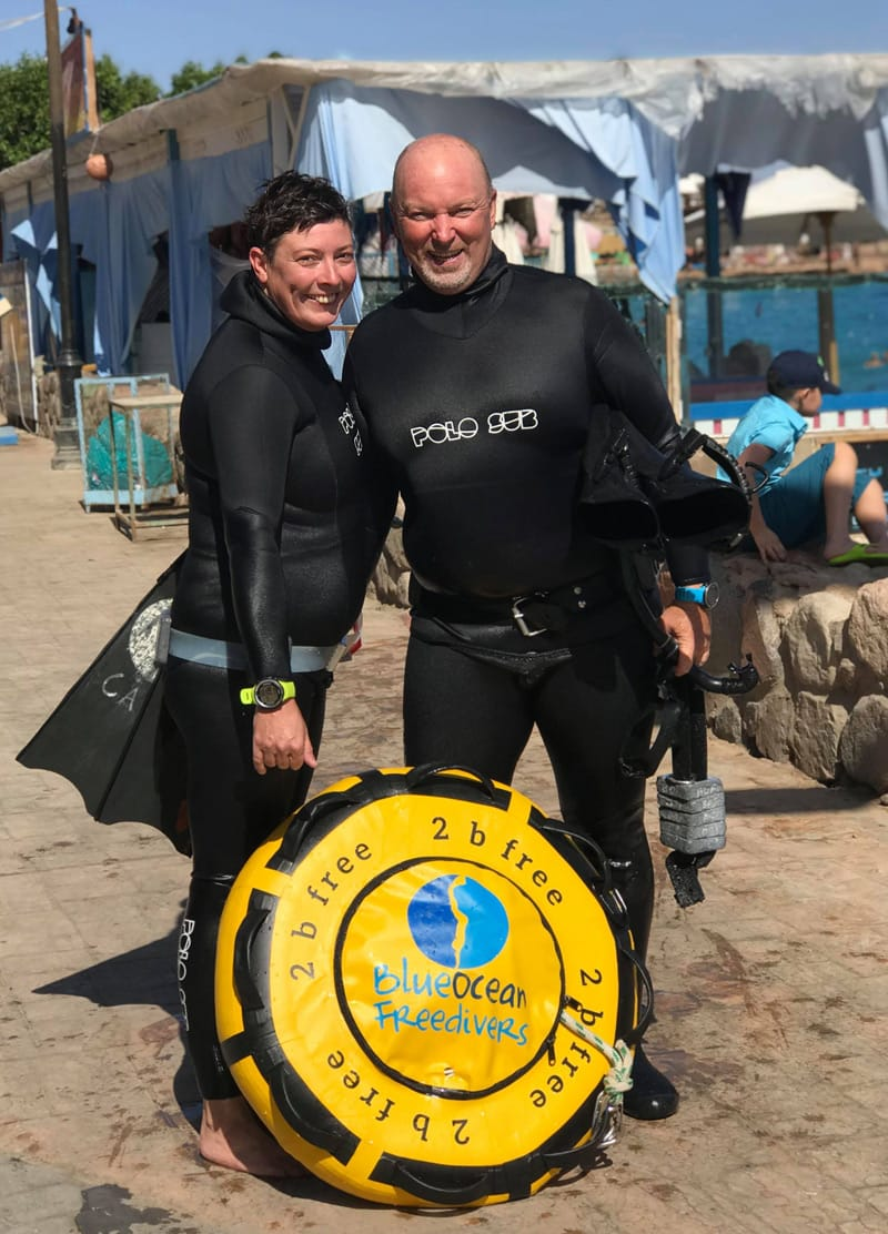 Brian and Catherine at Masbat Bay after a freediving session